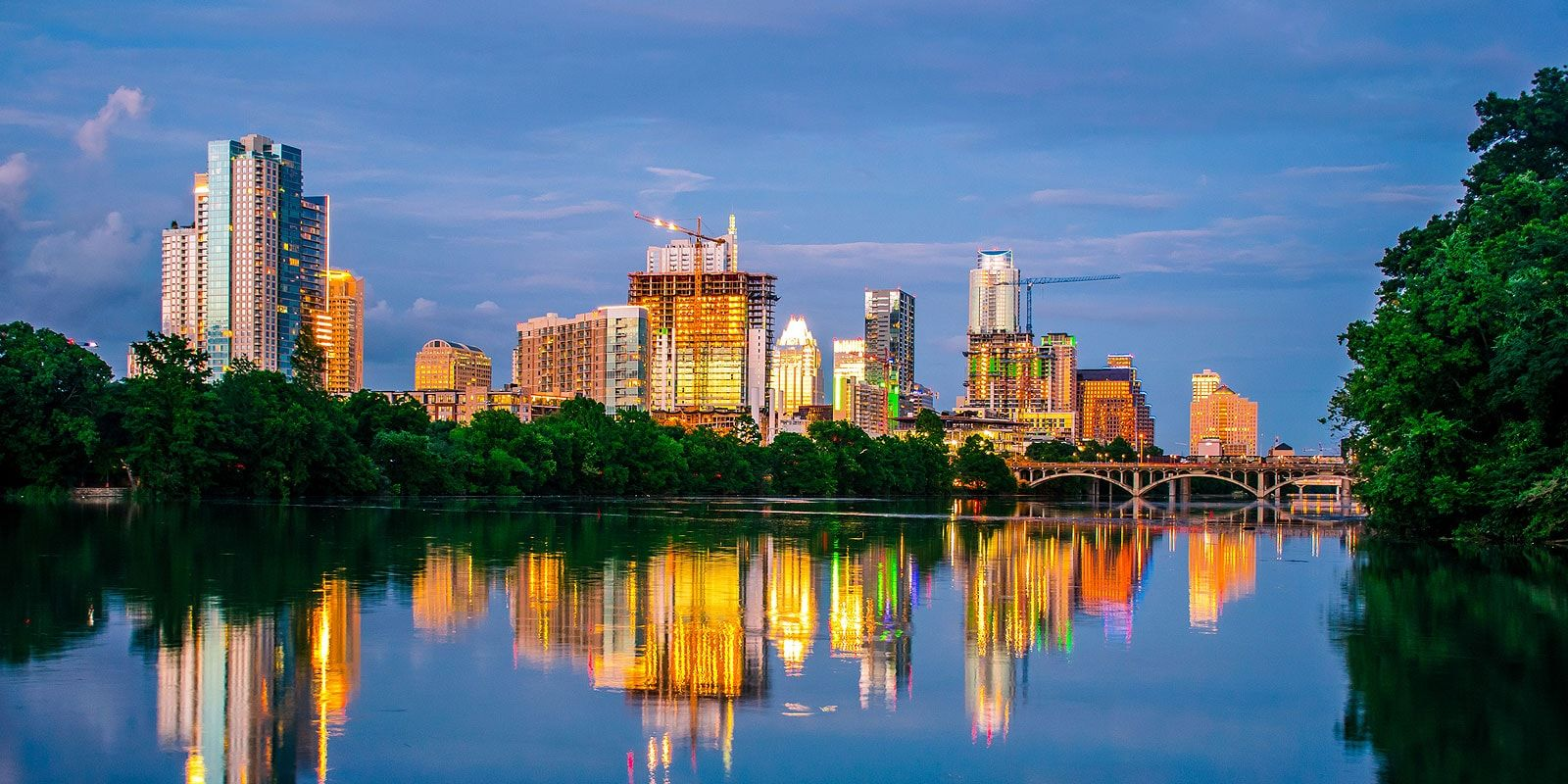 Cityscape of Austin from Zilker Metropolitan Park